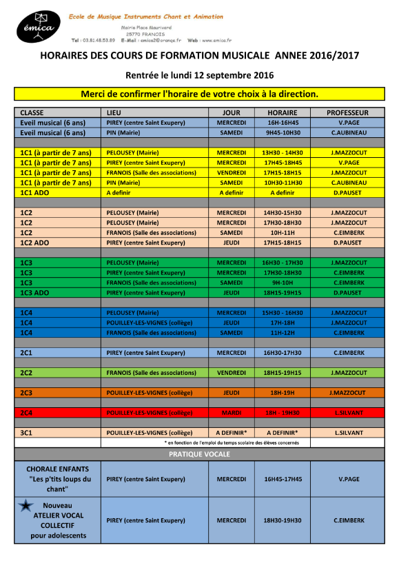 horaires cours 2016 2017