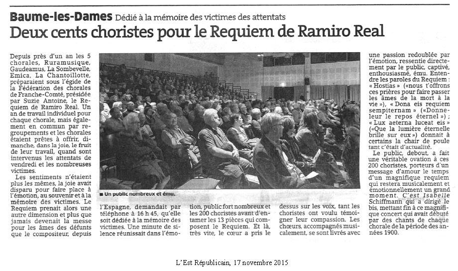 Article Est Républicain 171115 concert Requiem à Baume les Dames