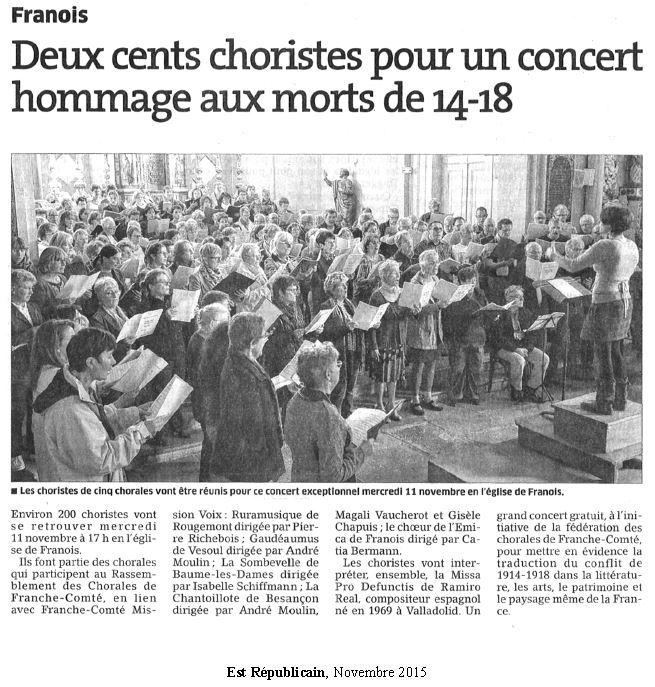 Article Est républicain concert Requiem à Franois - novembre 2015